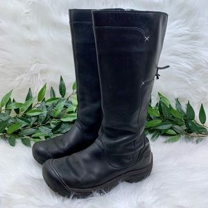 Keen Tall Black Leather Waterproof Bow Boot 8.5
